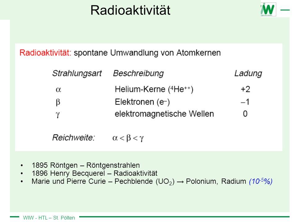 Radioaktivität 1895 Röntgen – Röntgenstrahlen