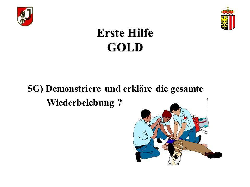 Erste Hilfe GOLD 5G) Demonstriere und erkläre die gesamte