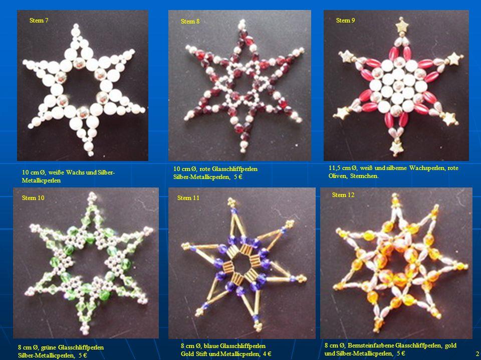 Stern 7 Stern 8. Stern 9. 10 cm Ø, rote Glasschliffperlen. Silber-Metallicperlen, 5 €