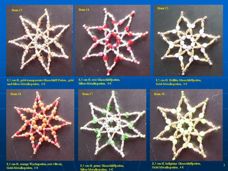 Stern 15 Stern 13. Stern 14. Stern 2. 8,5 cm Ø, rote Glasschliffperlen, Silber-Metallicperlen, 4 €