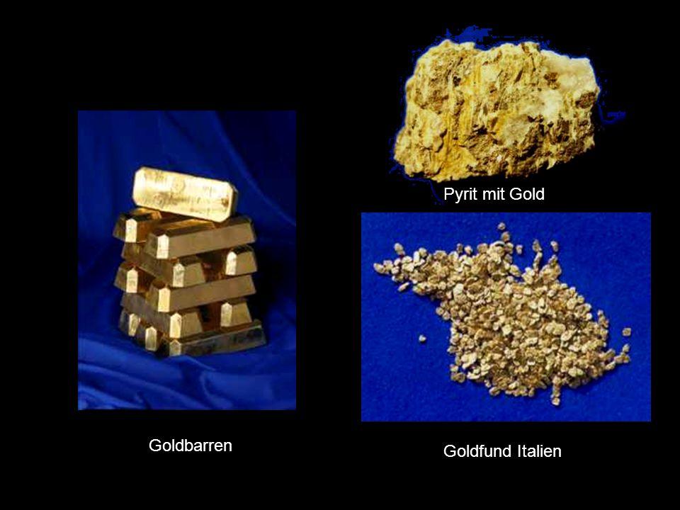 Pyrit mit Gold Goldbarren Goldbarren Goldfund Italien