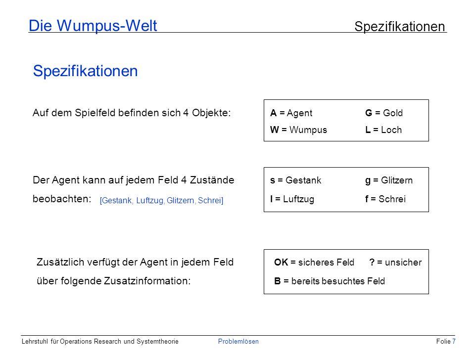 Die Wumpus-Welt Spezifikationen