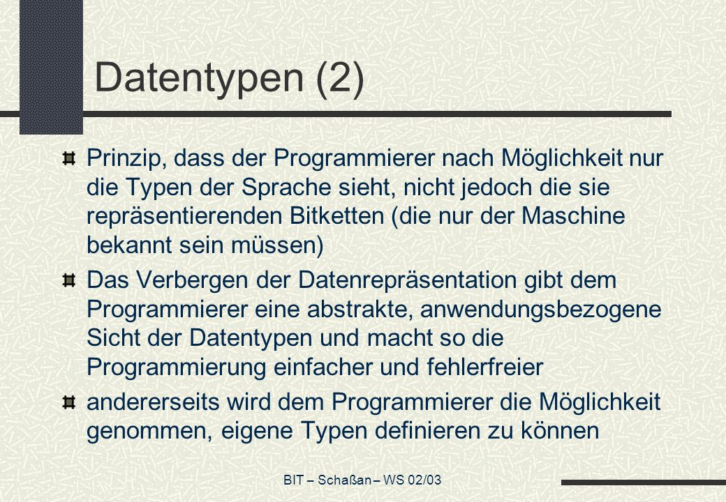 Datentypen (2)
