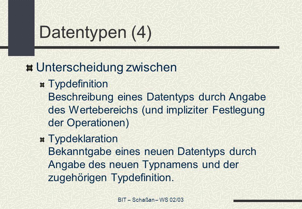 Datentypen (4) Unterscheidung zwischen