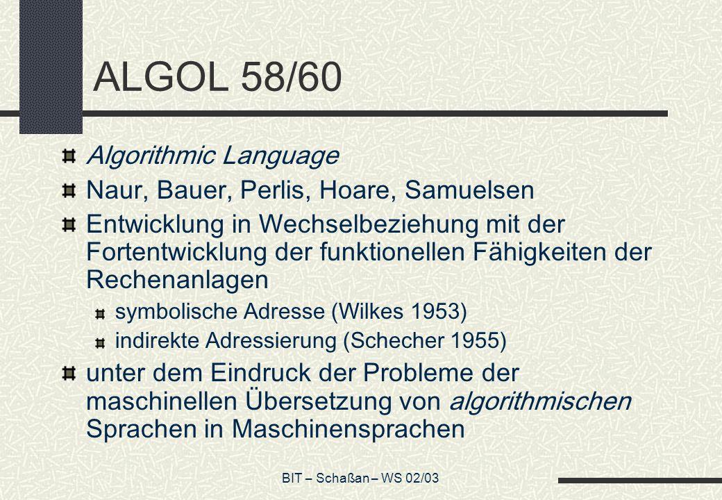 ALGOL 58/60 Algorithmic Language Naur, Bauer, Perlis, Hoare, Samuelsen