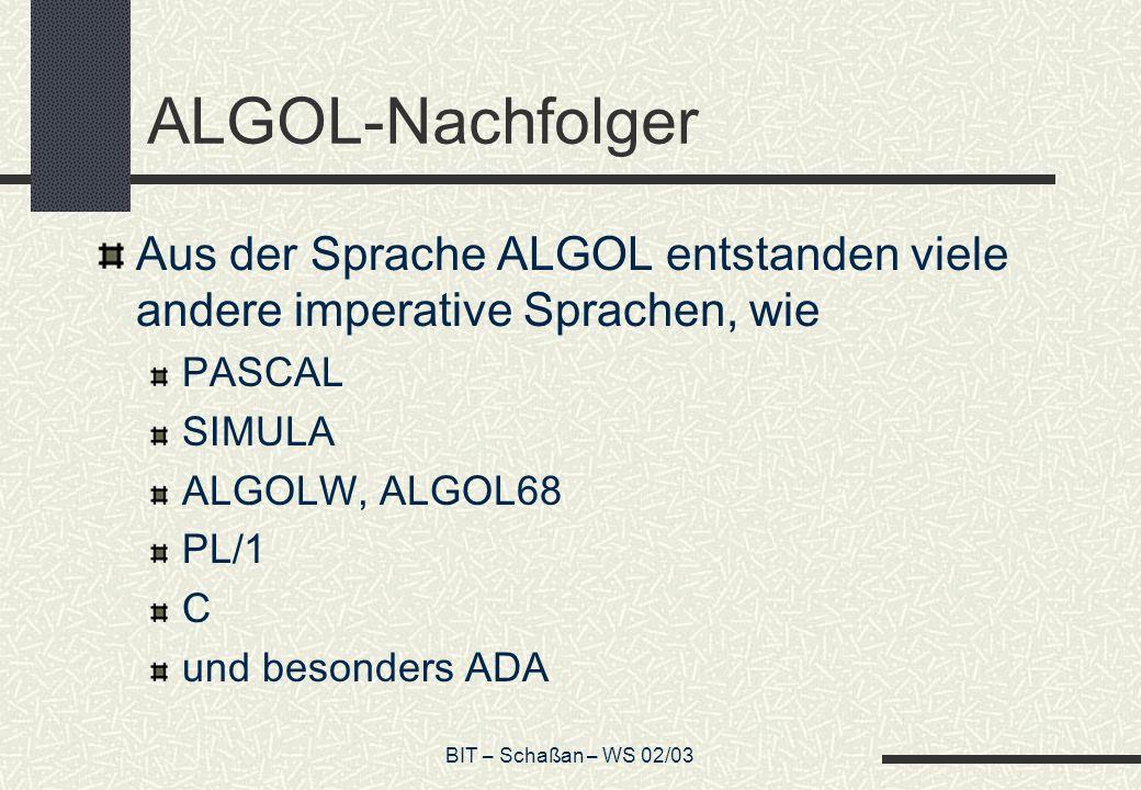 ALGOL-Nachfolger Aus der Sprache ALGOL entstanden viele andere imperative Sprachen, wie. PASCAL. SIMULA.