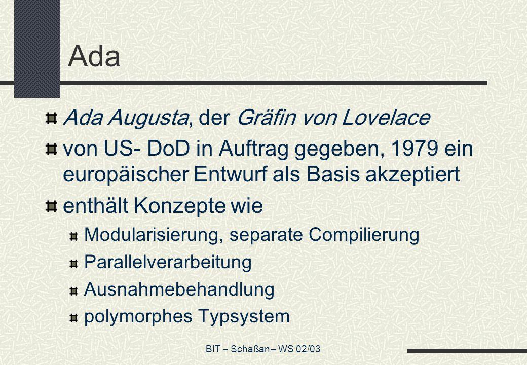 Ada Ada Augusta, der Gräfin von Lovelace