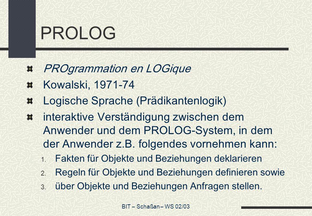 PROLOG PROgrammation en LOGique Kowalski, 1971-74
