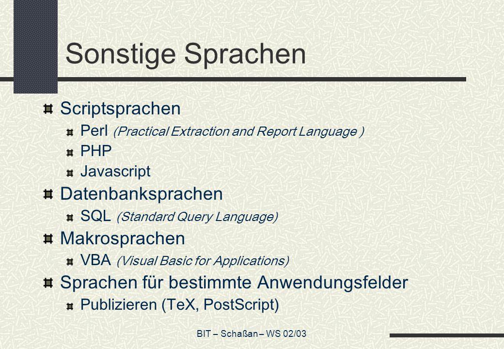 Sonstige Sprachen Scriptsprachen Datenbanksprachen Makrosprachen