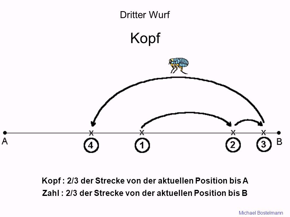 Dritter Wurf Kopf. Kopf : 2/3 der Strecke von der aktuellen Position bis A. Zahl : 2/3 der Strecke von der aktuellen Position bis B.