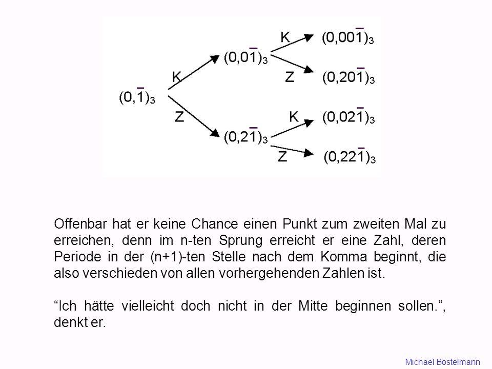 Offenbar hat er keine Chance einen Punkt zum zweiten Mal zu erreichen, denn im n-ten Sprung erreicht er eine Zahl, deren Periode in der (n+1)-ten Stelle nach dem Komma beginnt, die also verschieden von allen vorhergehenden Zahlen ist.