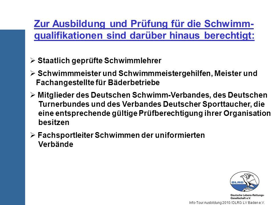 Zur Ausbildung und Prüfung für die Schwimm-qualifikationen sind darüber hinaus berechtigt: