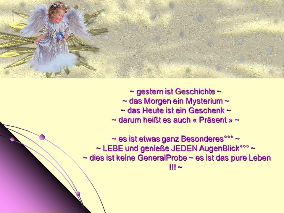 ~ gestern ist Geschichte ~ ~ das Morgen ein Mysterium ~ ~ das Heute ist ein Geschenk ~ ~ darum heißt es auch « Präsent » ~ ~ es ist etwas ganz Besonderes°°° ~ ~ LEBE und genieße JEDEN AugenBlick°°° ~ ~ dies ist keine GeneralProbe ~ es ist das pure Leben !!.