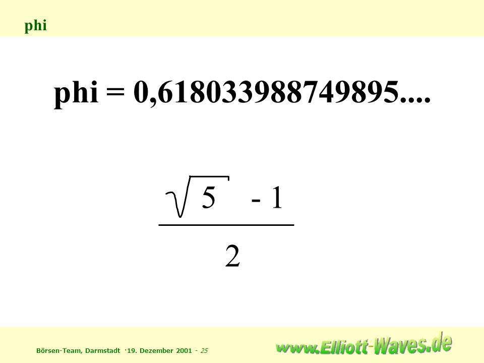 phi phi = 0,618033988749895.... 5 - 1 2