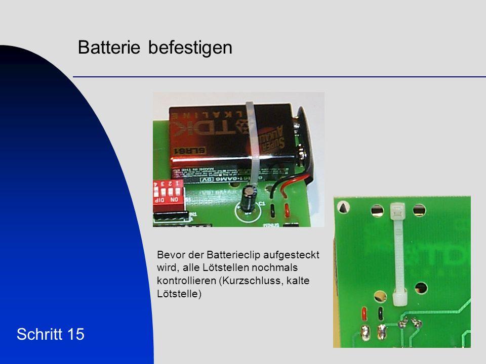 Batterie befestigen Schritt 15 Bevor der Batterieclip aufgesteckt