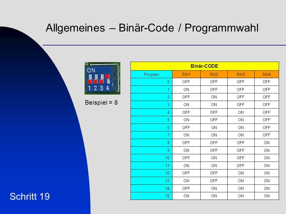 Allgemeines – Binär-Code / Programmwahl