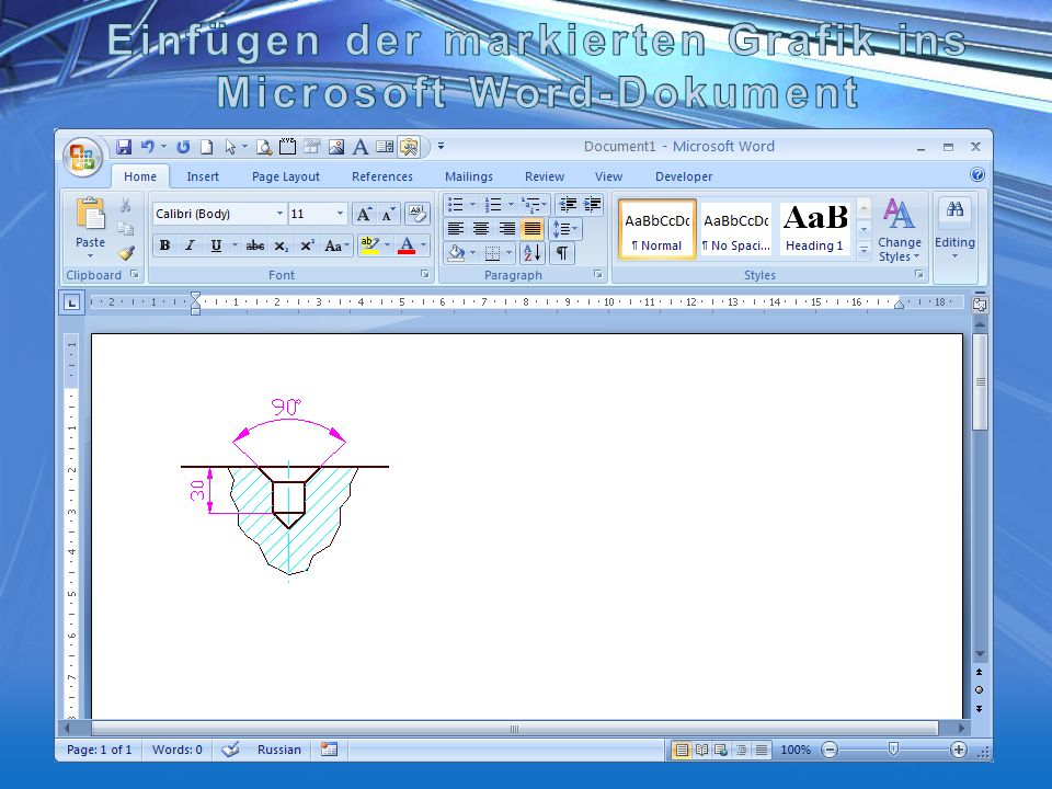 Einfügen der markierten Grafik ins Microsoft Word-Dokument