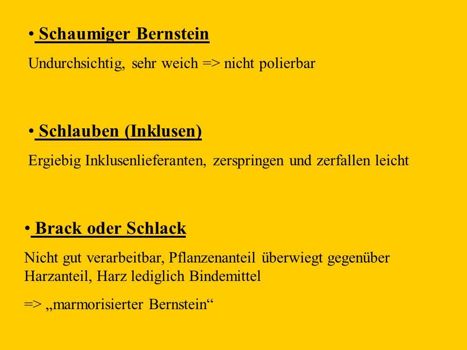 Schaumiger Bernstein Schlauben (Inklusen) Brack oder Schlack