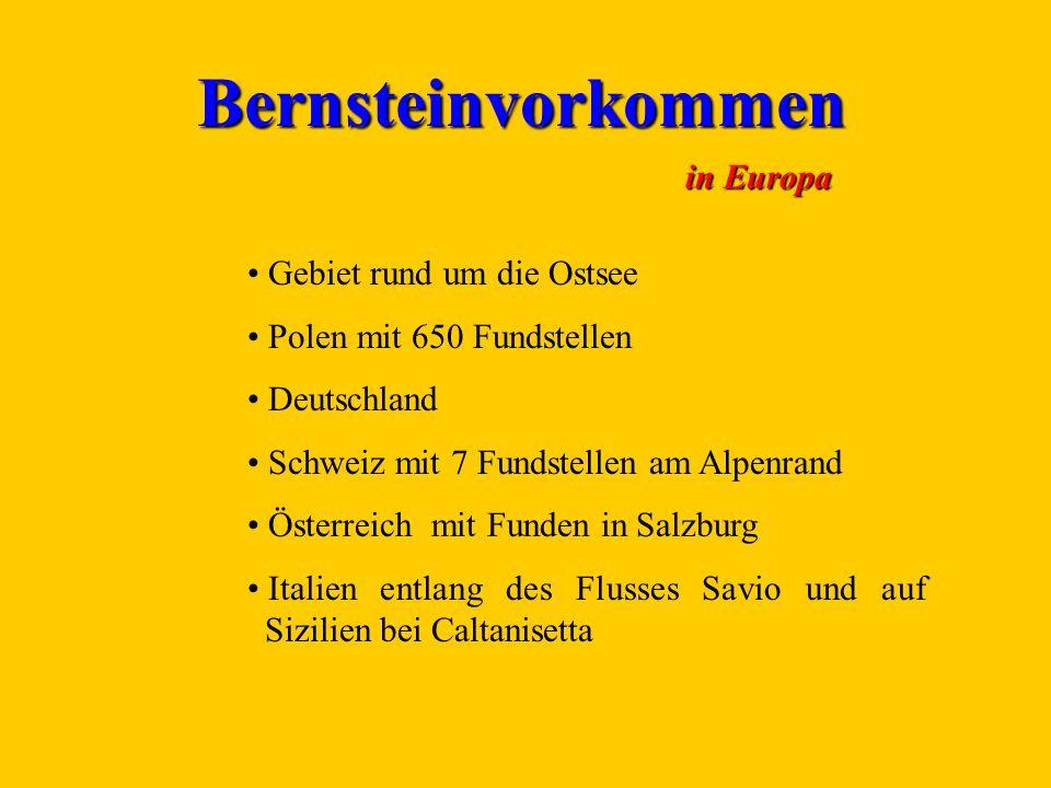 Bernsteinvorkommen in Europa Gebiet rund um die Ostsee