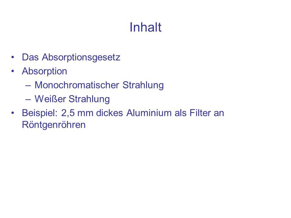 Inhalt Das Absorptionsgesetz Absorption Monochromatischer Strahlung