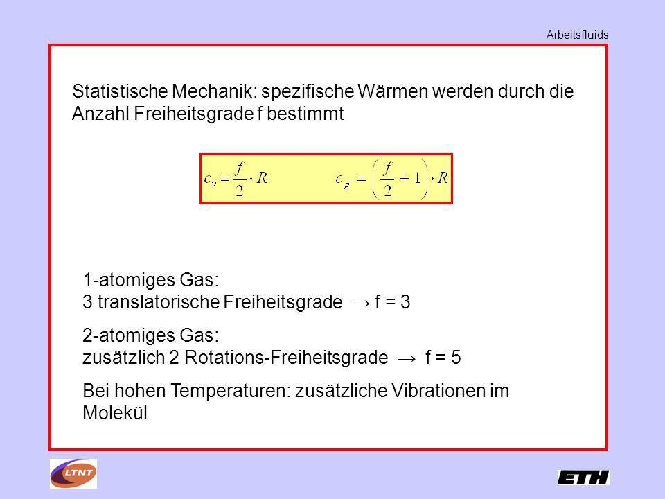 1-atomiges Gas: 3 translatorische Freiheitsgrade → f = 3