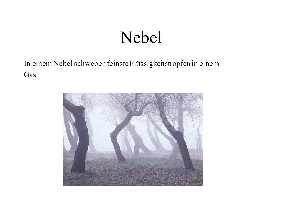 Nebel In einem Nebel schweben feinste Flüssigkeitstropfen in einem