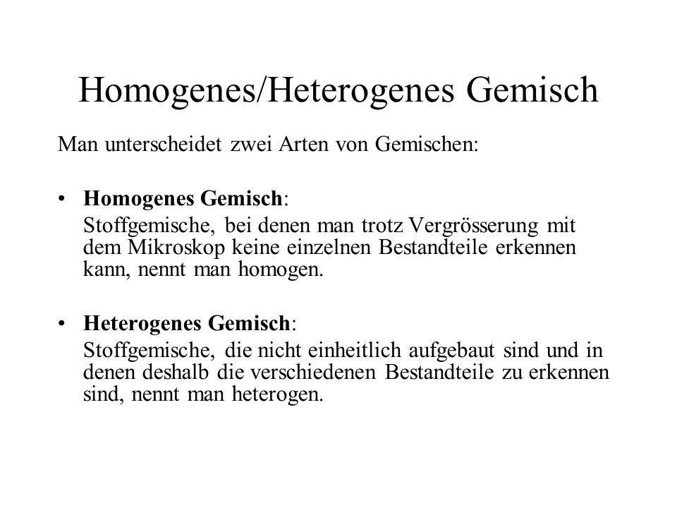 Homogenes/Heterogenes Gemisch