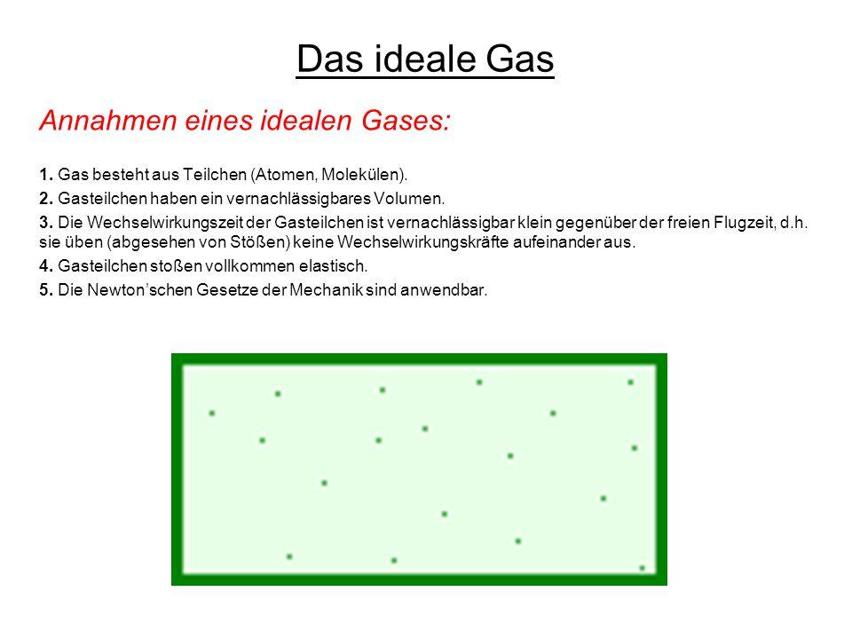 Das ideale Gas Annahmen eines idealen Gases: