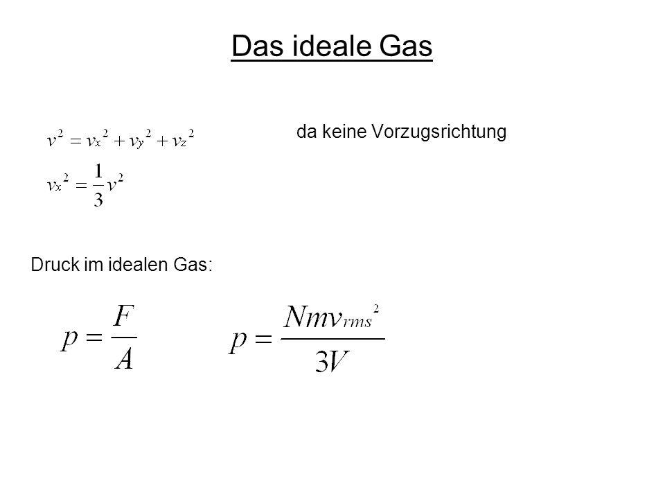 da keine Vorzugsrichtung Druck im idealen Gas: