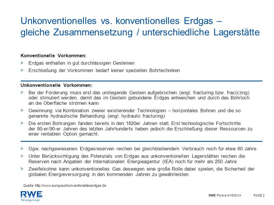Unkonventionelles vs. konventionelles Erdgas – gleiche Zusammensetzung / unterschiedliche Lagerstätte