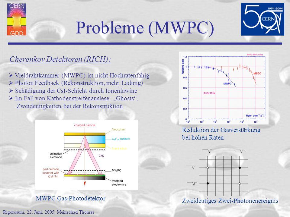 Probleme (MWPC) Cherenkov Detektoren (RICH):