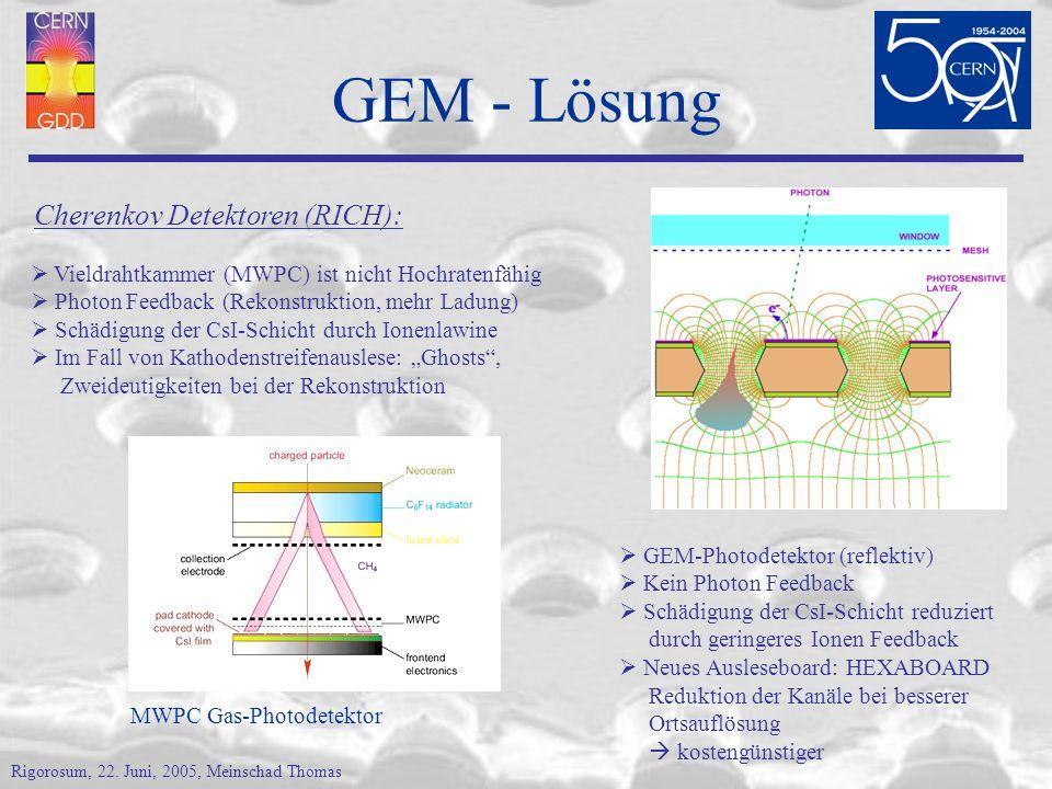 GEM - Lösung Cherenkov Detektoren (RICH):