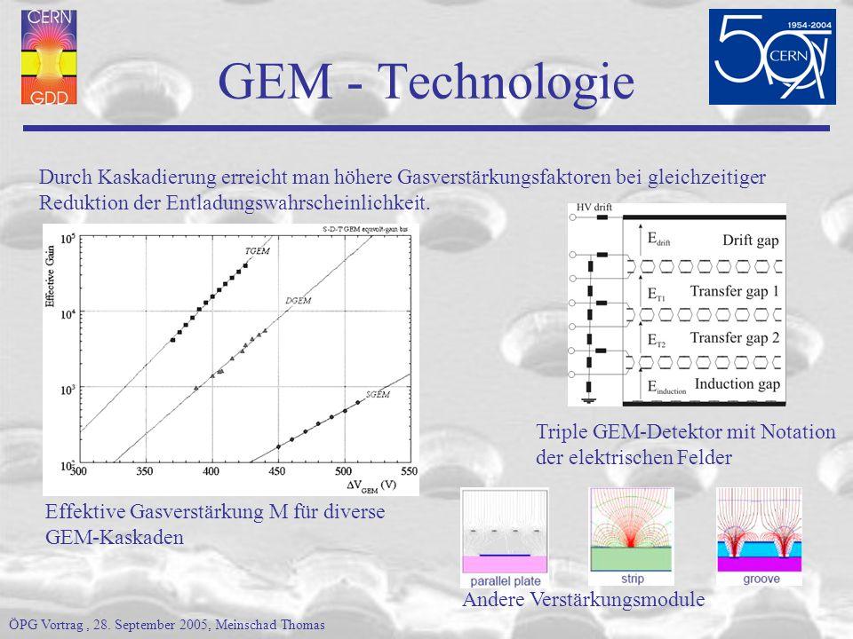 GEM - Technologie Durch Kaskadierung erreicht man höhere Gasverstärkungsfaktoren bei gleichzeitiger.