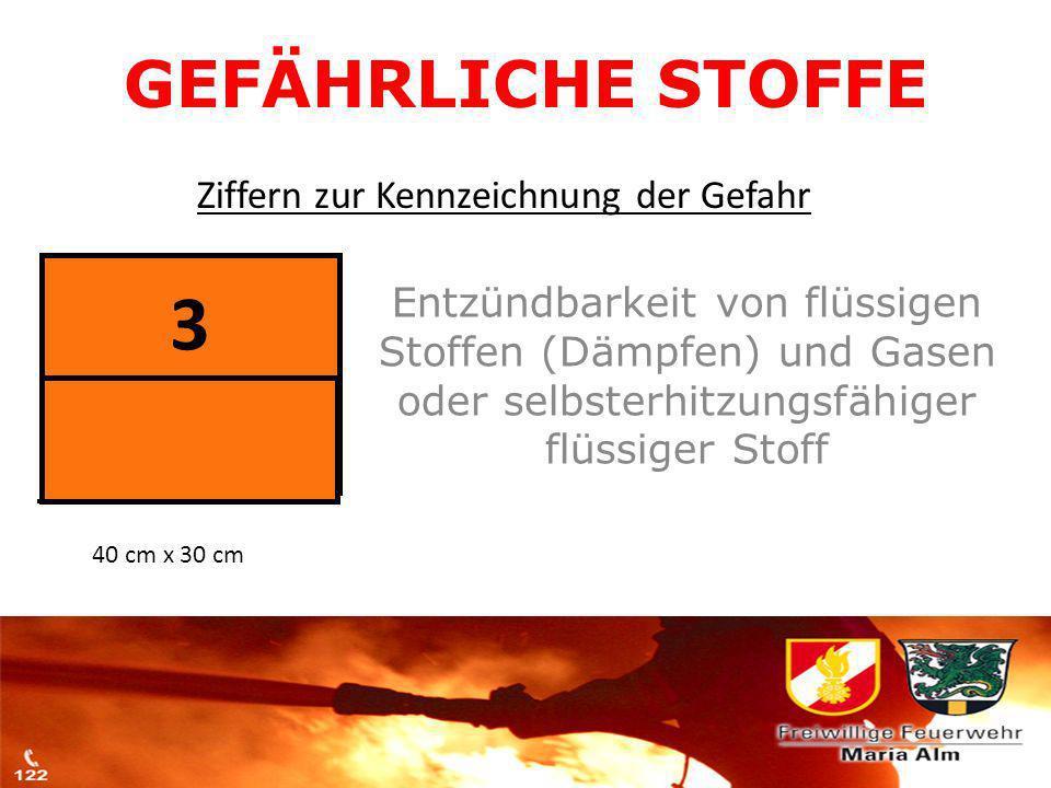 3 GEFÄHRLICHE STOFFE Ziffern zur Kennzeichnung der Gefahr
