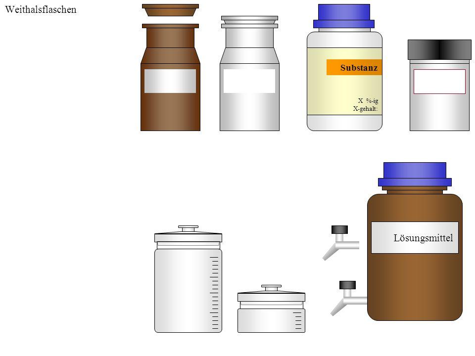 Weithalsflaschen Substanz X %-ig X-gehalt: Lösungsmittel