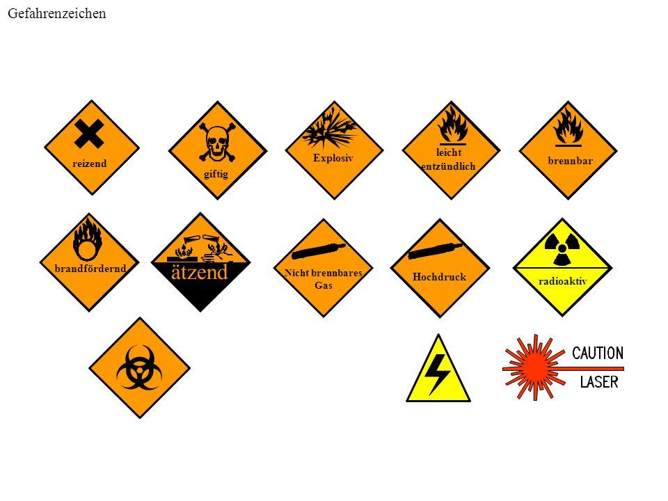ätzend Gefahrenzeichen leicht Explosiv entzündlich brennbar reizend