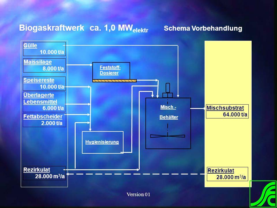Biogaskraftwerk ca. 1,0 MWelektr Schema Vorbehandlung