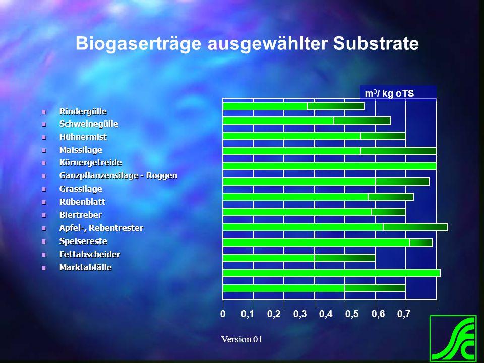 Biogaserträge ausgewählter Substrate