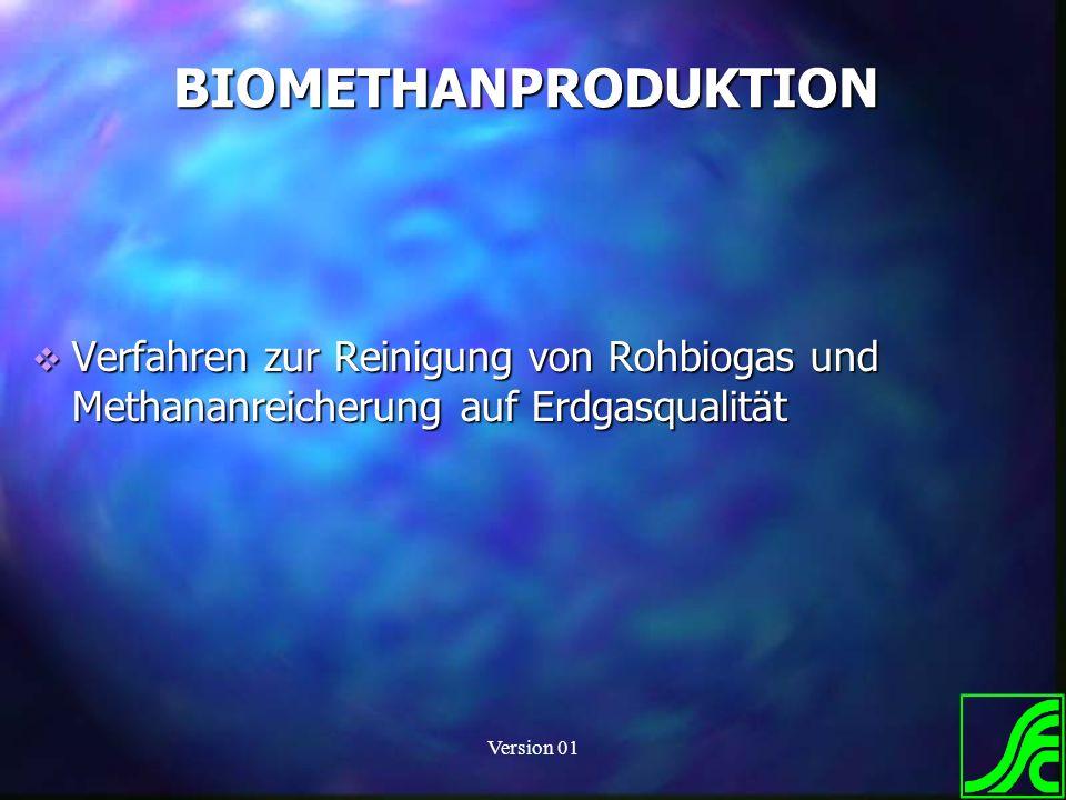 BIOMETHANPRODUKTION Verfahren zur Reinigung von Rohbiogas und Methananreicherung auf Erdgasqualität.