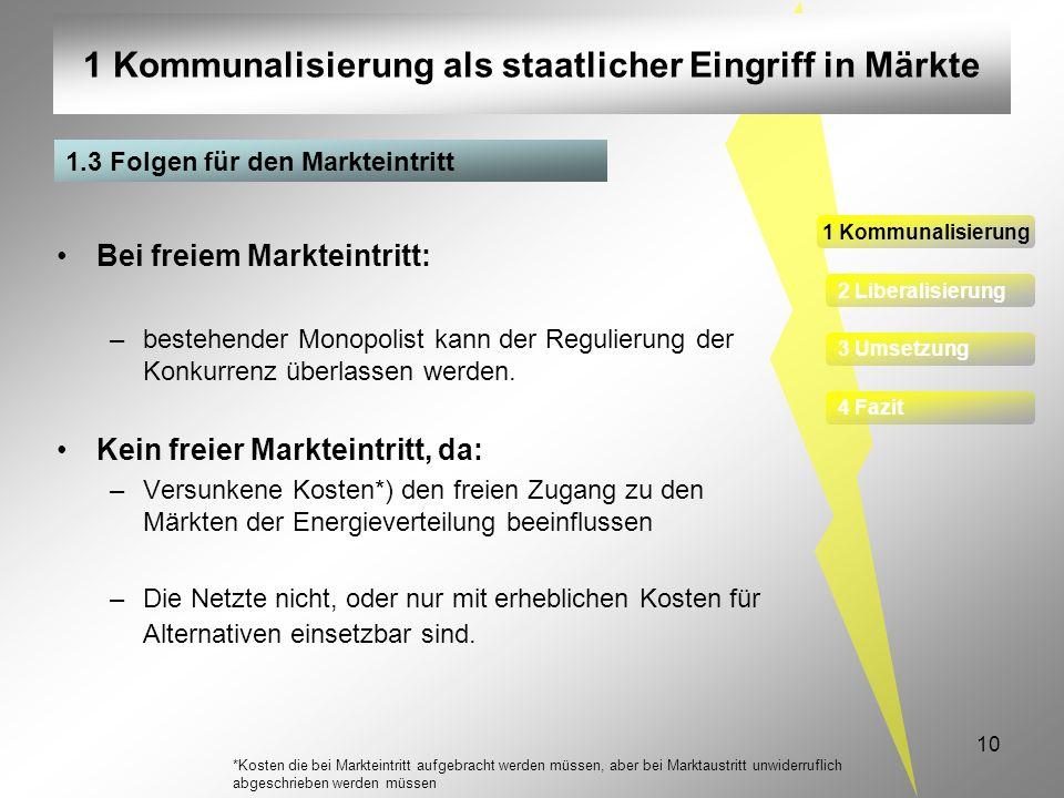 1 Kommunalisierung als staatlicher Eingriff in Märkte