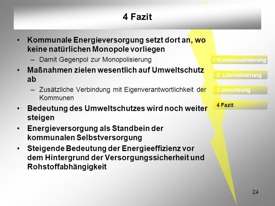 4 FazitKommunale Energieversorgung setzt dort an, wo keine natürlichen Monopole vorliegen. Damit Gegenpol zur Monopolisierung.