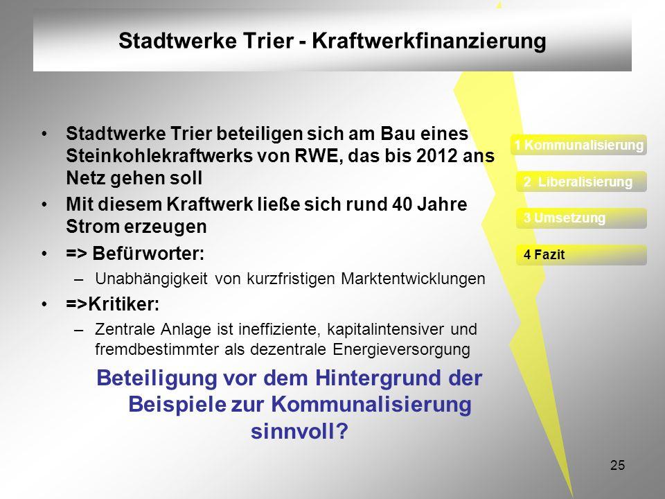 Stadtwerke Trier - Kraftwerkfinanzierung