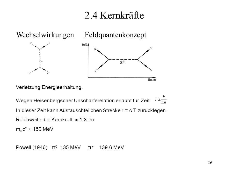 2.4 Kernkräfte Wechselwirkungen Feldquantenkonzept