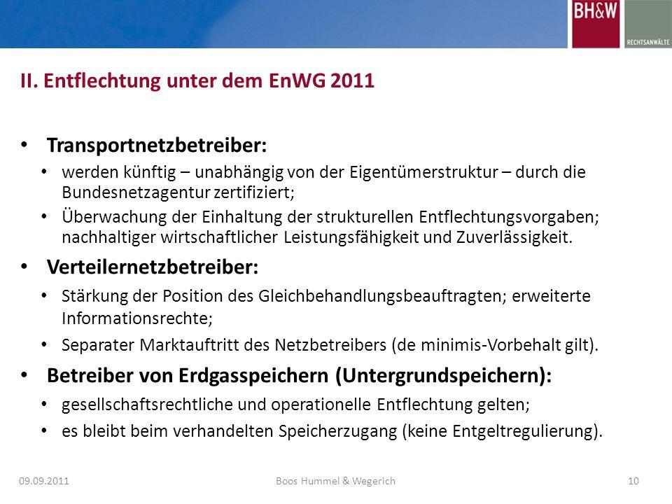 II. Entflechtung unter dem EnWG 2011