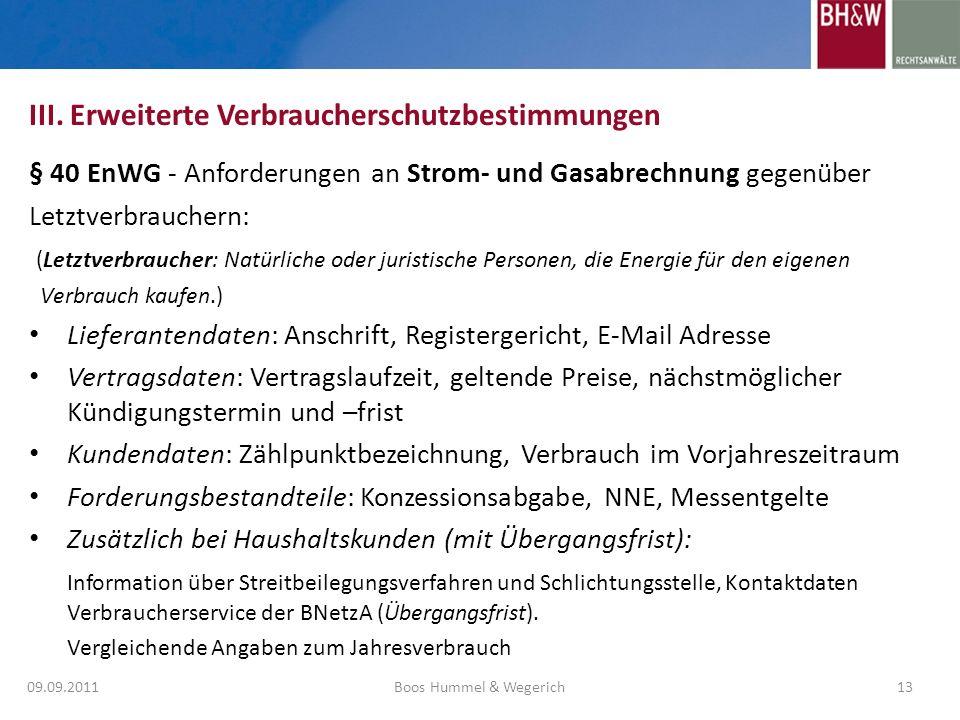 III. Erweiterte Verbraucherschutzbestimmungen