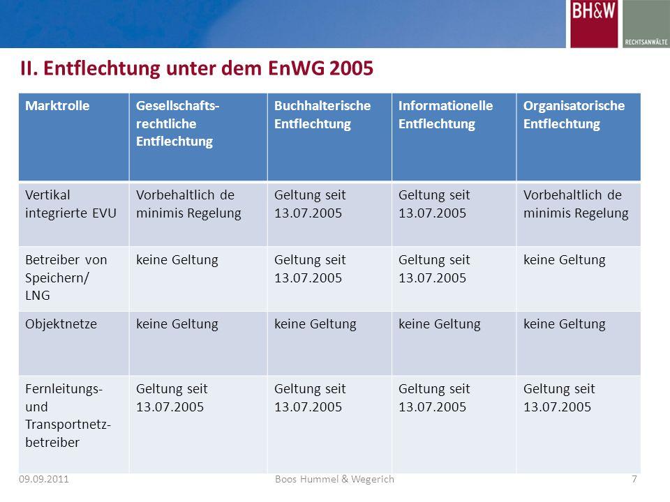 II. Entflechtung unter dem EnWG 2005