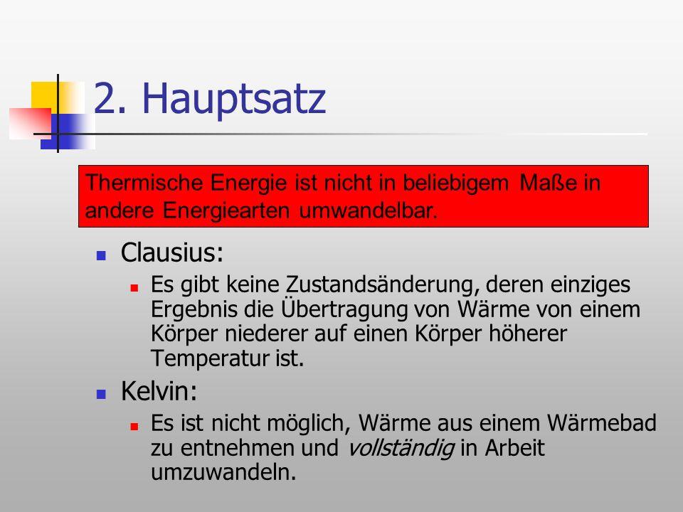 2. Hauptsatz Clausius: Kelvin: