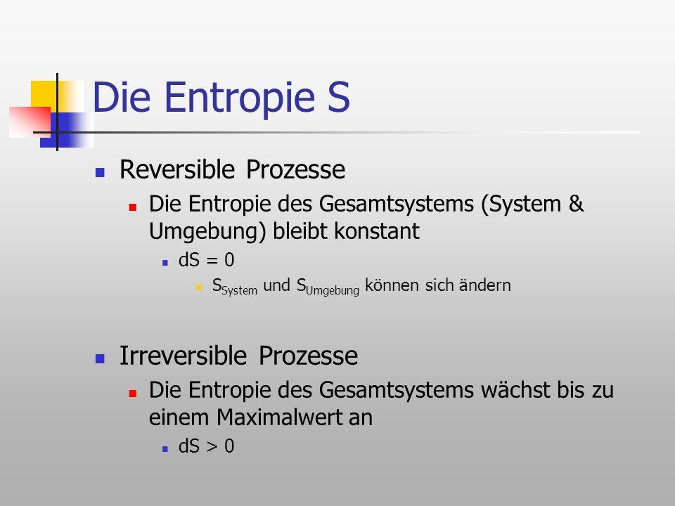 Die Entropie S Reversible Prozesse Irreversible Prozesse
