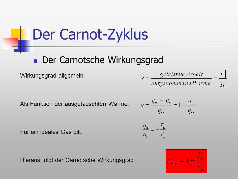 Der Carnot-Zyklus Der Carnotsche Wirkungsgrad Wirkungsgrad allgemein: