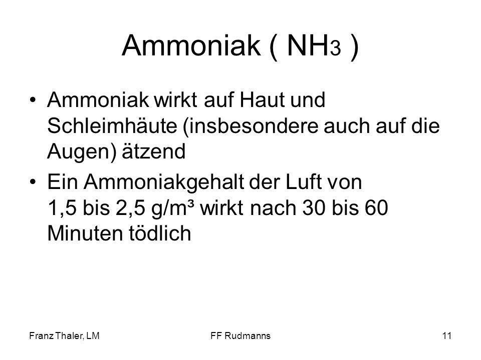 Ammoniak ( NH3 ) Ammoniak wirkt auf Haut und Schleimhäute (insbesondere auch auf die Augen) ätzend.